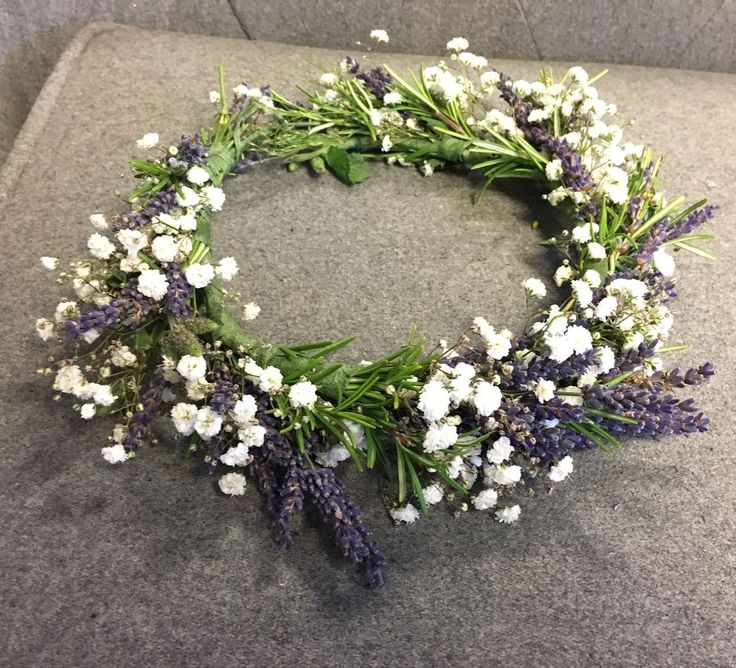 A bespoke floral crown made of fragrant rosemary, dried lavender and fresh white gypsophila. #parsleyandsage #floralcrown #lavender