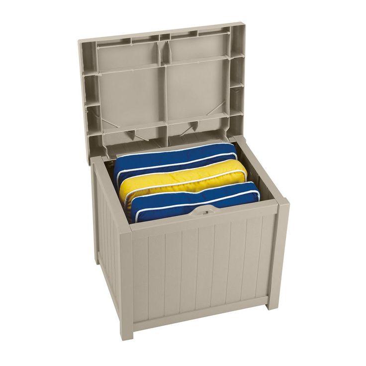 Outdoor Storage Box Patio Bench Seat Pool Yard Garden Deck Furniture Resin