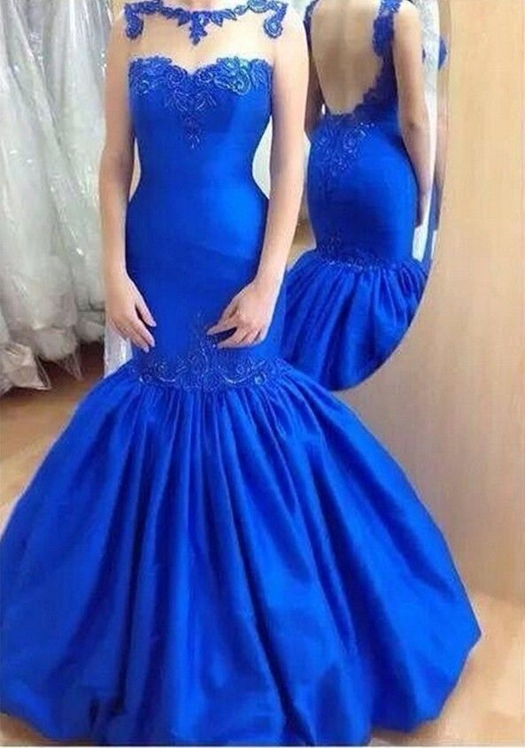 2016 Hot sale Long Elegant Mermaid Royal Blue Evening Dress for Prom Appliques Embroidery Satin Open Back Long Evening Gown