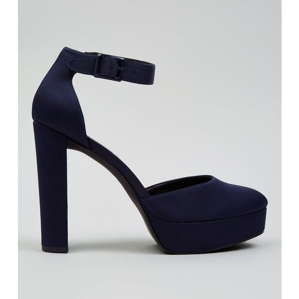Navy Satin Platform Heels ($21) ❤ liked on Polyvore featuring shoes, pumps, navy, navy shoes, round toe platform pumps, satin pumps, navy blue satin shoes and navy blue satin pumps
