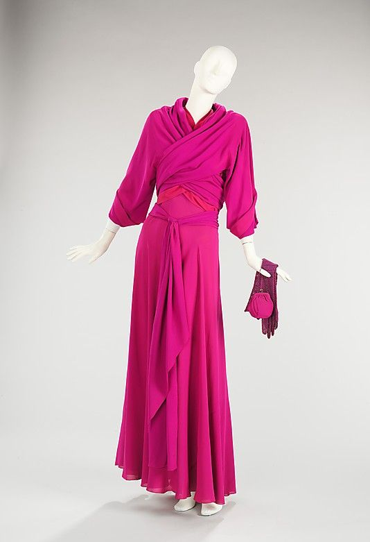 """Circa 1935 Vionnet silk evening ensemble (sleeveless dress and coat),French. Via MMA: """"Madeleine Vionnet was a consummate technician, particularly known for her innovative use of the bias cut and construction of her garments. This evening ensemble displays a wonderful use of tonal colors. Vionnet's handling of the bodice panels shows her signature economy of seaming and complex cut."""""""