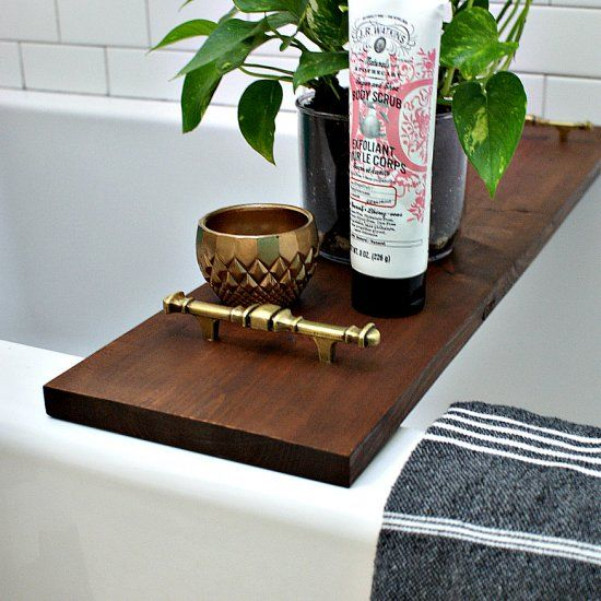 Learn how to make this pretty bathtub tray using upcycled materials from the ReStore.