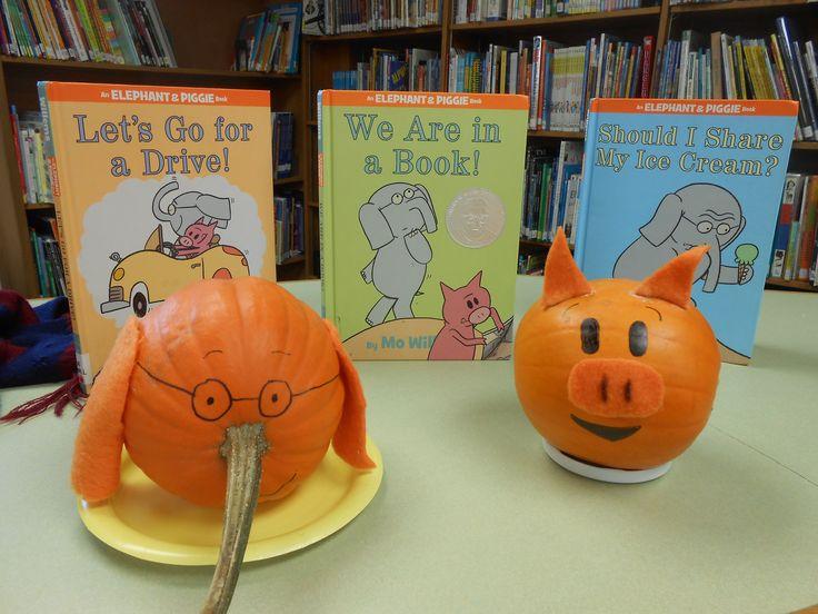 Gerald and piggie pumpkins 2014 book display pumpkin