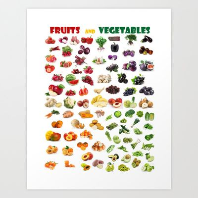 Fruits and vegetables Art Print by Gabriela Tardea - $17.56