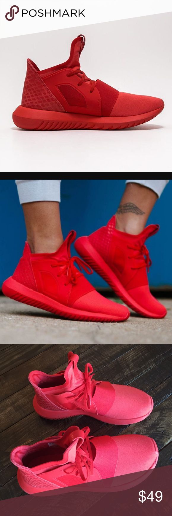 Adidas Red Sneakers Adidas Tubular Defiant sneakers. Women's size 6.5. Worn couple of times but they are in very good condition. No orig box Adidas Shoes Sneakers
