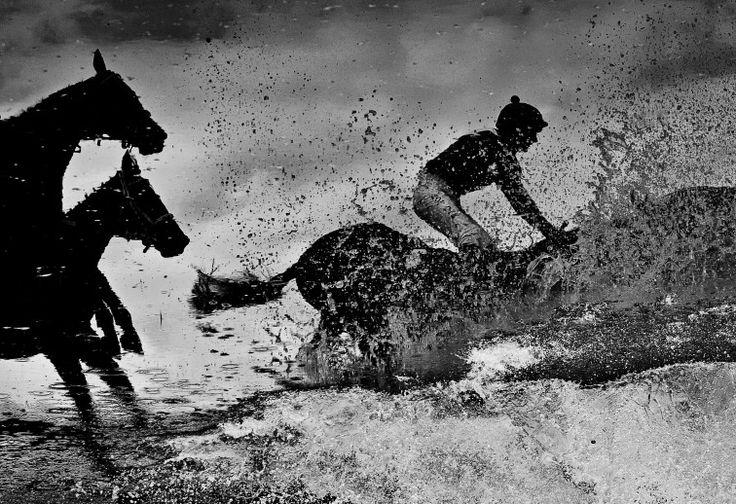 Un momento della Velká pardubická, una delle più antiche e prestigiose corse a ostacoli coi cavalli dell'Europa continentale. Si tiene dal 1874 a Pardubice, a circa cento chilometri a est di Praga.