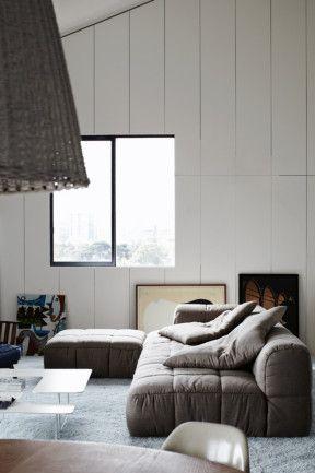 St Kilda apartment renovation image 9.  Via inside out mag.  Arflex Strips sofa by Cini Boeri