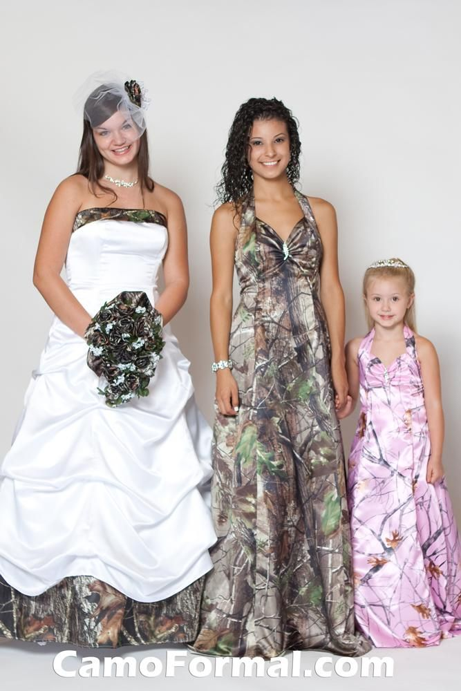 My Camo Dress With A Mini Vale.My Brides Maid Dress. My Flower Girs  Dress Brides Family Bridesmaid Flower Girl