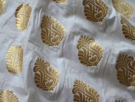 Wedding Dress Fabric, Brocade Fabric by the yard in Pure White Gold, Benarse Brocade fabric for Skirt , Banarasi Fabric Blended