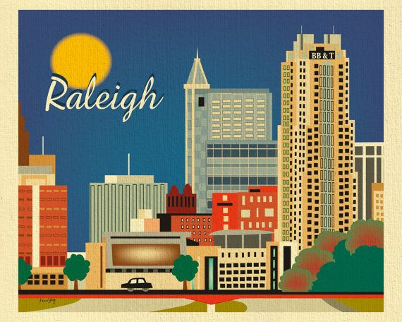 """Raleigh Skyline Print, North Carolina - Art Print for Office, Home, and Child's Room - style E8-O-RAL- $27-8x10"""""""