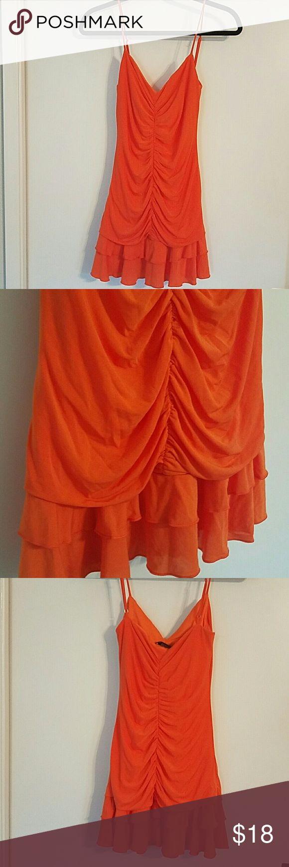 BCBG MAXAZRIA orange mini dress Perfect for a summer party!  EUC  Soft and comfortable BCBGMaxAzria Dresses Mini