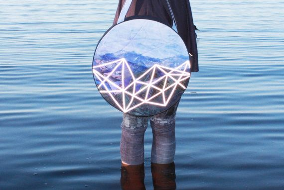 Mountain travelers round bag with reflective by ZIBtextile on Etsy, $150.00