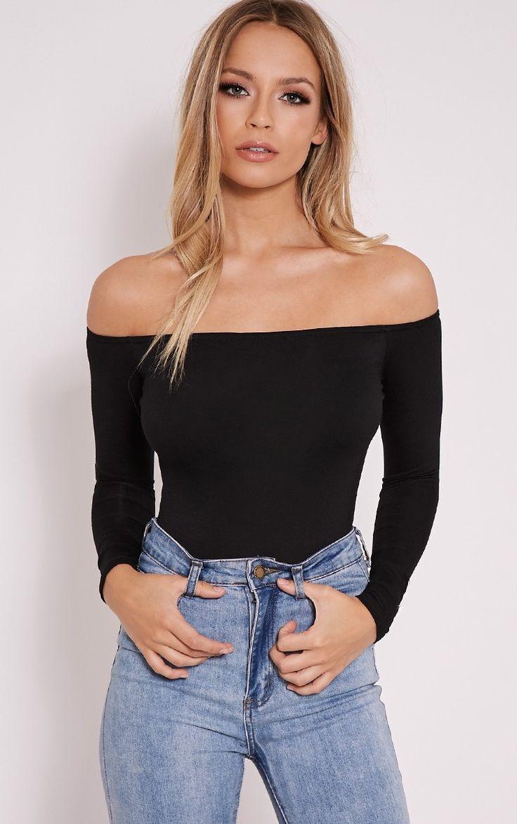 Basic Black Bardot Bodysuit