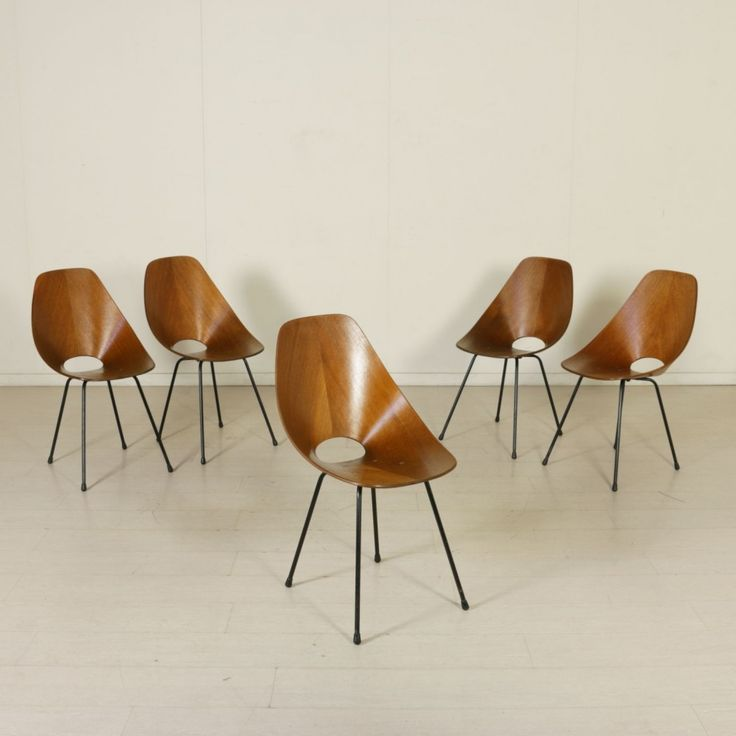 Set of 5 Medea dinner chairs by Vittorio Nobili for Fratelli Tagliabue, 1950s