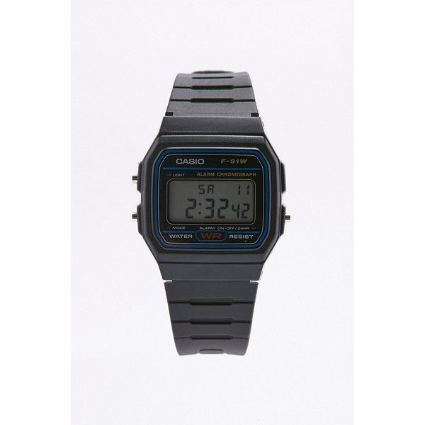 Casio Casual Black Digital Watch (£27) ❤ liked on Polyvore featuring jewelry, watches, black, digital alarm watch, plastic watches, casio watches, leather-strap watches and alarm watches