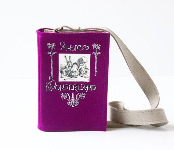 Alice In Wonderland paars voelde boek tas