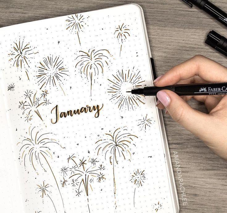 Monatliche Deckung mit Aufzählungszeichen, Januardeckblatt, Feuerwerksbild