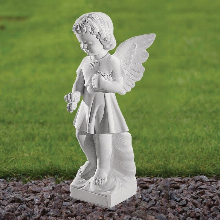 Angel Figurine 47cm Religious Statue Marble Garden Ornament. Buy now at http://www.statuesandsculptures.co.uk/marble-garden-ornaments-angel-figurine-47cm-religious-statue