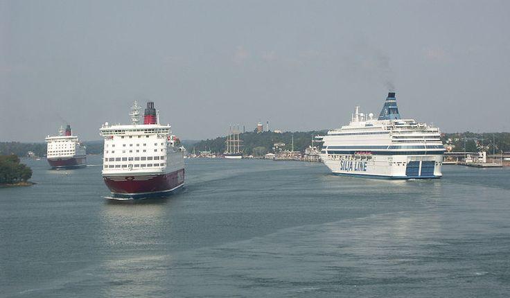 Ferries in the harbor of Mariehamn, Aland Islands, Finland.