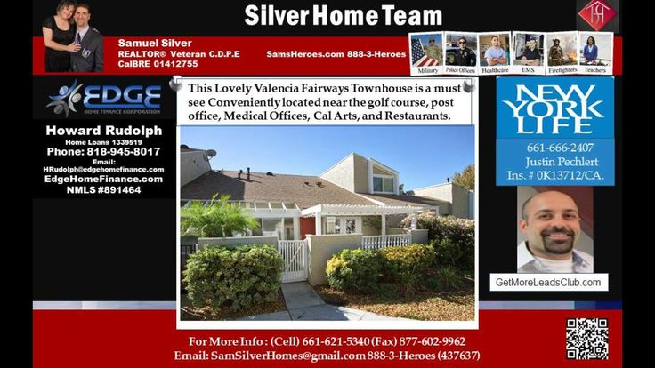 2 bed 1.75 bath home for sale in Fairways - Text and Call Sam 661-621-5340 HomeSmart     https://gp1pro.com/USA/CA/Los_Angeles/Valencia/Fairways/25761_TOURNAMENT_Rd.html  Call, Text, or email Sam Silver at 661-621-5340 SamSilverHomes at gmail dot com HomeSmart real estate made easy CalBRE01412755.  Samuel Silver is the Top Producing realtor agent in all of Southern California including Simi Valley and the Ventura County, the San Fernando Valley and the Santa Clarita Valley- Now is your…