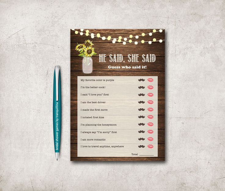 He Said She Bridal Shower Game Printable Digital File