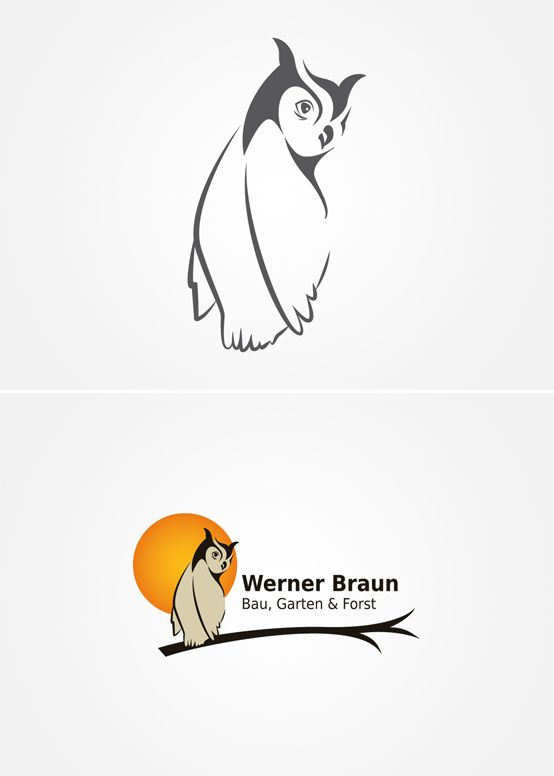 Für Werner Braun - Bau, Garten & Forst entwickelte Smoco ein Logo nach den Vorgaben des Kunden.  | #design #logo #owl #moon #eule #mond #ast #orange #galabau | made with love in Stuttgart by www.smoco.de