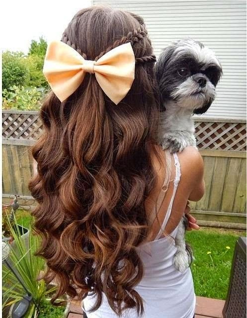 OMG! I so want to do the bf's hair like this. Length, curls, braids, bow.  All of it!!