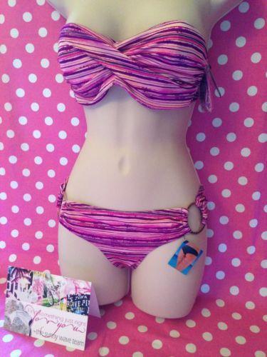 New 36B M Victoria'Ssecret Pink Purple Bandeau Bikini Top Bottom Set Swim | eBay