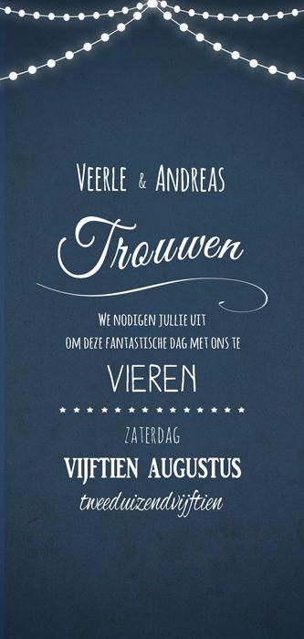 Huwelijk Veerle en Andreas - trouwkaart - voorkant - Pimpelpluis - https://www.facebook.com/pages/Pimpelpluis/188675421305550?ref=hl (# huwelijksuitnodiging - trouw - lampjes - typografie - kaart - huwelijk - vintage - blauw - origineel)