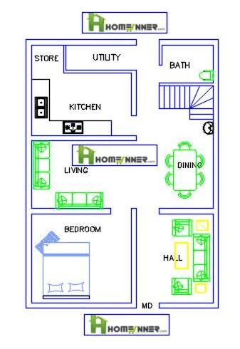Today we are showcasing a840 sq ft single floor single bedroom 1BHK Free house plan from Hom...