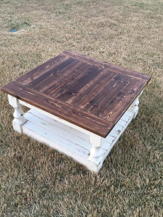 Large Square Rustic Baluster Wide Plank Coffee Table Farmhouse