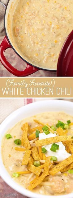 You don't want to miss this family favorite White Chicken Chili recipe- it is loaded with beans, chicken tex-mex flavors and tons of creamy goodness! It is soo good and really easy to make too!