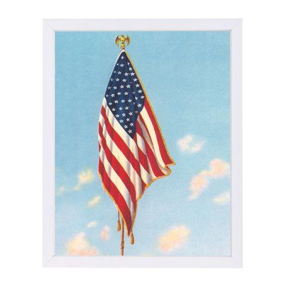 East Urban Home u0027Hanging American Flagu0027 Photographic Print Format - white paper format