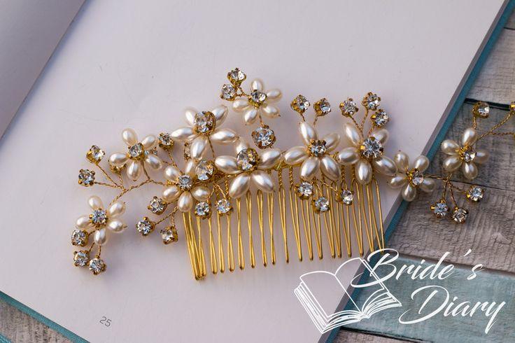 Haarschmuck & Kopfputz - Braut Haarkamm mit Perlen und Strass  gold - ein Designerstück von BridesDiary bei DaWanda