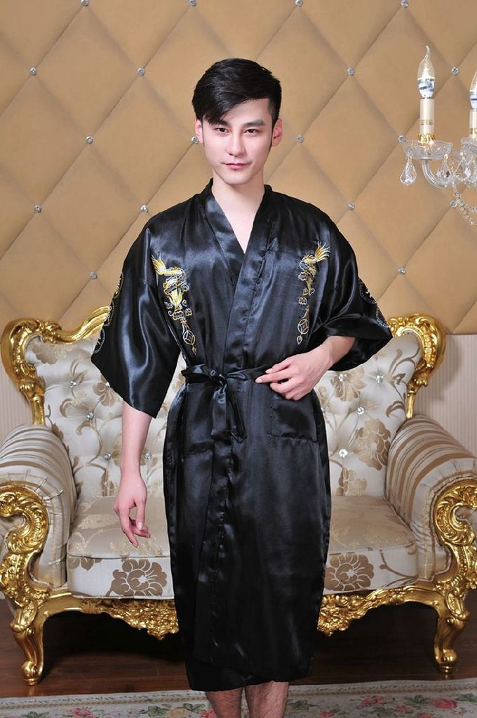 31220315fb New Traditional Japanese Yukata Men s Japanese Pajamas Men s Sleepwear  Lounge Home Clothing Men s Satin Robe Kimono Bath Gown