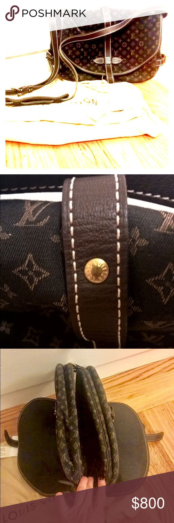 100% Authentic LV Mini Monogram Canvas Saumur bag A timeless, classic, long lasting Authentic Louis Vuitton Mini Monogram Brown Canvas Saumur cross-body bag.  Resistant canvas that has a double compartment which each has a buckle closure and adjustable long shoulder strap.  It is made of 58% cotton, 24% linen and 18% polyamide.  Purchased at $1250, which currently need to call for inquiry on LV official website. Signature elegant piece that carries modern twist cross-body bag. Extremely good…