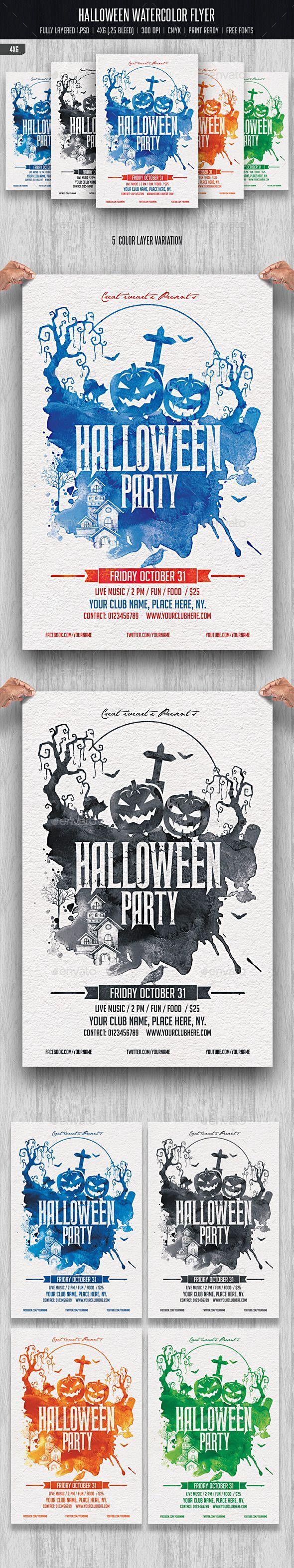 Halloween Watercolor Flyer Tempalte #design Download: http://graphicriver.net/item/halloween-watercolor-flyer/12885093?ref=ksioks