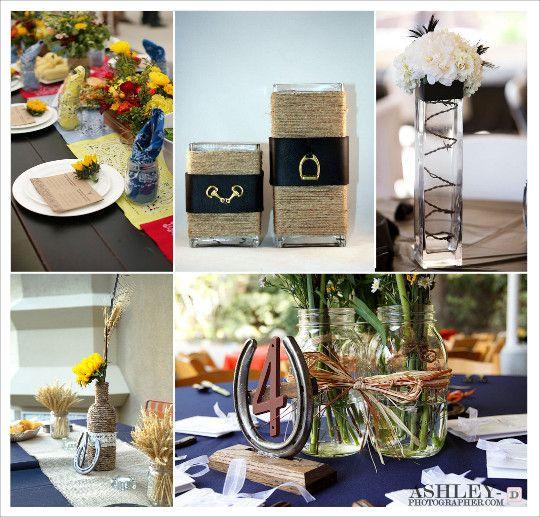decoration mariage western centre de table vase cordage barbelé bandana fer cheval