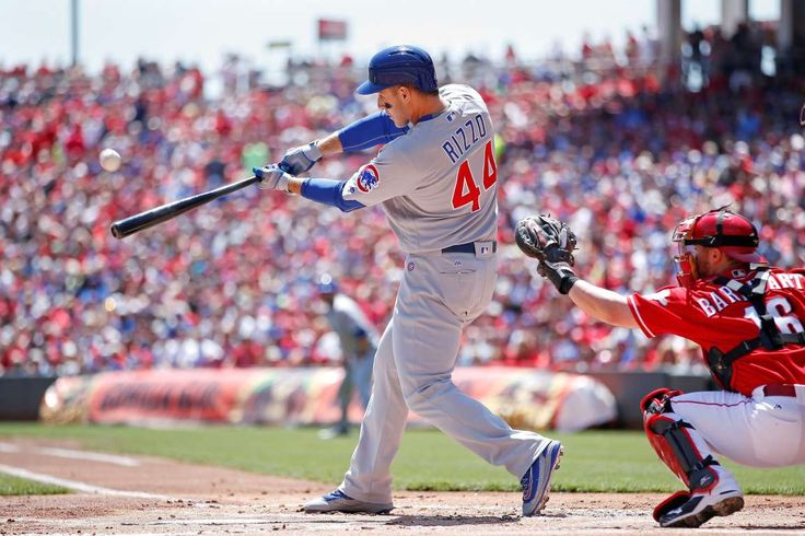 Cubs cruise:   Anthony Rizzo of the Chicago Cubs hits a two-run home run against the Cincinnati Reds in the first inning at Great American Ball Park in Cincinnati on April 24. The Cubs won 9-0  -      © Joe Robbins/Getty Images