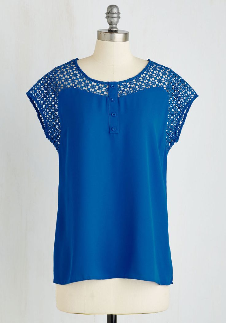 Tango Above and Beyond Top. Your dance moves are as solid as your style when you whirl around in this crochet-detailed top! #blue #modcloth