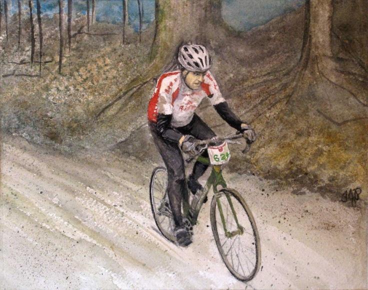 Jon Bikes in Paris To Ancaster Race, by Tanya Petruk, Watercolour, 8X10