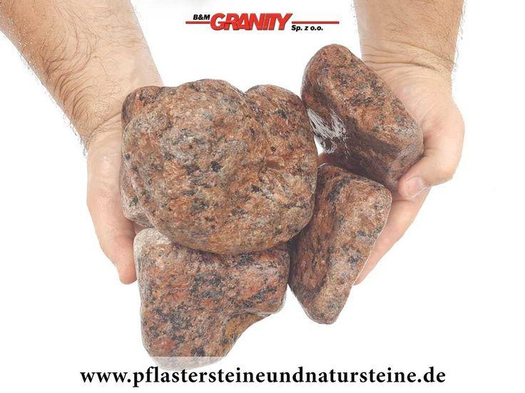 Ziersteine / Gerundete (getrommelte) Steine aus Granit, Vanga (nass) für Gabionen