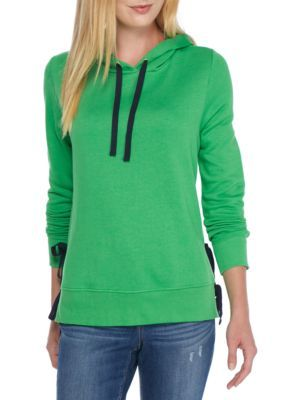 Crown & Ivy™ Women's French Terry Hoodie - Green/Navy - Xl