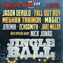 So excited!!! 106.1 KISS FM'S JINGLE BALL featuring Jason Derulo, Fall Out Boy, MAGIC!, Jeremih, Echosmith, Meghan Trainor, Jake Miller + special guest host Nick Jonas tickets at Verizon Theatre at Grand Prairie