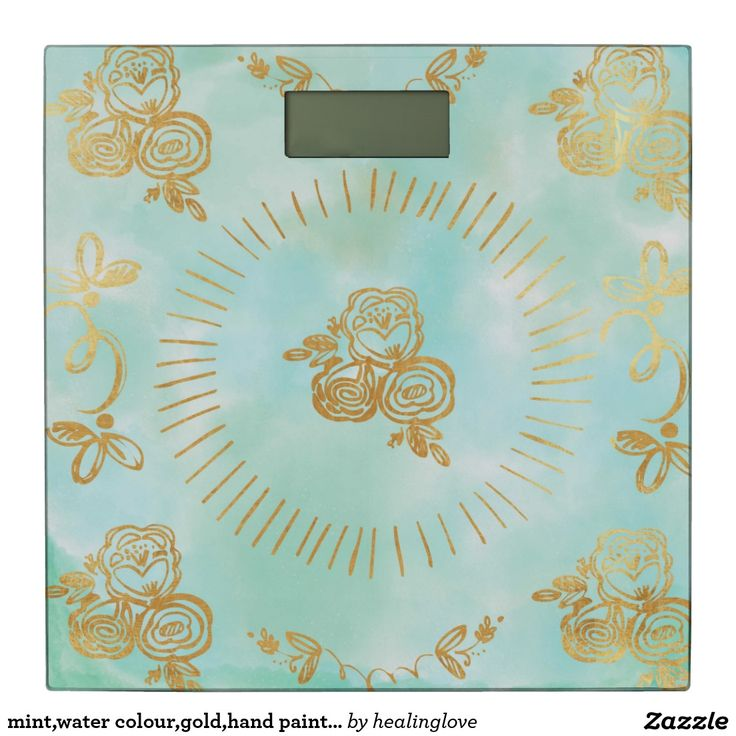 Photo On mint water colour gold hand painted trendy modern bathroom scale
