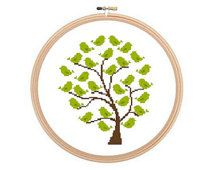 Tree With Birds - Cross stitch pattern, Tree Cross stitch, Birds Cross Stitch, Birds Pattern. Instant download.