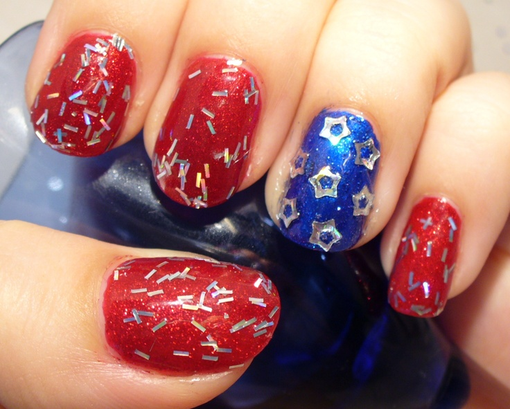 4th of july impress nails
