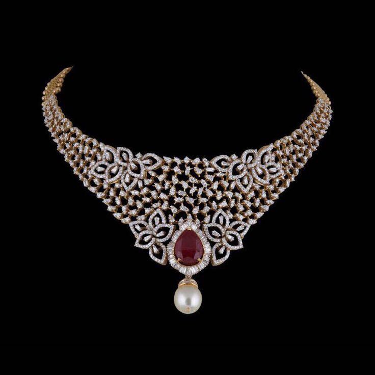 "P.Satyanarayan & Sons (@psatyanarayansons) on Instagram: ""Elegance lies in Graceful and Poised Simplicity. Enjoy this Fine Stylish Diamond Choker by…"""