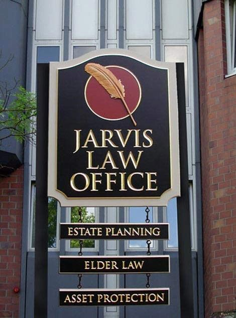 Jarvis Law Office Sign, (by Danthonia Designs) with a sculpted feather & carved & gilded text. See more of our sign work on www.danthoniadesigns.com