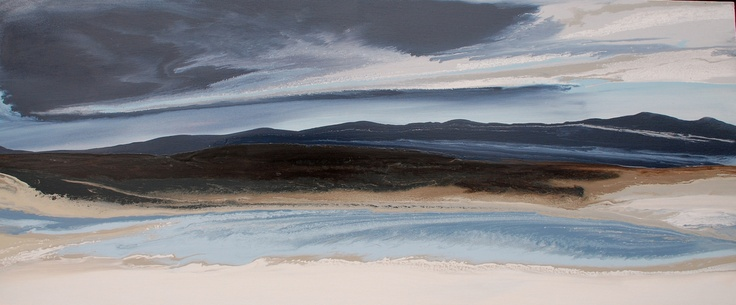 Moody, by Tasha Mrazek- navy blue-  landscape -storm- Abstract